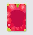 cut raspberry template card slice fresh fruit vector image