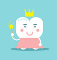 cute cartoon tooth character in a pink dress and vector image vector image