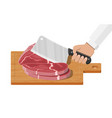 cutting board butcher cleaver and piace of meat vector image vector image