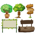 Different design of signs made of wood vector image vector image