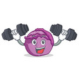fitness red cabbage character cartoon vector image vector image