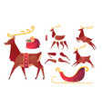 flat christmas reindeer creation set kit vector image
