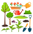 garden icons watering can shovel sapling vector image