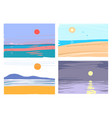 hand drawn abstract sea landscape collection vector image vector image