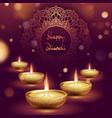 happy diwali diya oil lamp template indian vector image vector image