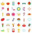 happy icons set cartoon style vector image vector image