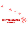 hawaii state map - mosaic of valentine hearts vector image vector image