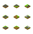 isometric road set of footer underground strip vector image vector image