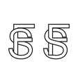 logo sign fs and sf icon sign interlaced letters s vector image