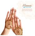 Mehndi Henna Woman Hads Realistic Design vector image vector image