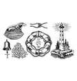 nautical adventure set sea lighthouse marine vector image vector image