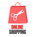 online shopping scissors pink bag concept i vector image