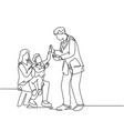 parenting care concept single line drawing of vector image