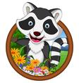 raccoon cartoon in frame vector image vector image