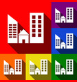 real estate sign set of icons with flat vector image vector image