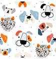 seamless pattern with cute dog faces and hand vector image vector image