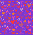 seamless pattern with valentine grunge hearts vector image vector image