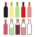 set of colorful wine bottles on white stock vector image