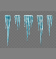 set of realistic borders with snow icicles on vector image