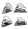 set retro locomotives on white background vector image