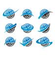 Swoosh Globe World Logo Icons vector image vector image