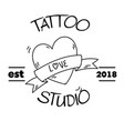 tattoo studio love ribbon heart background vector image