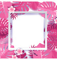 trendy summer tropical palm pink leaves with white vector image vector image