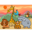 wild animals group cartoon vector image