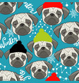 winter seamless pattern with cute pugs faces vector image vector image