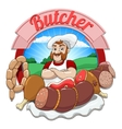 with meat and butcher vector image