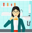 Woman brushing teeth vector image vector image