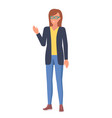 woman in glasses with raised hand vector image vector image