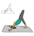 woman practicing yoga on a gray mat vector image