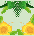 yellow flowers and tropical leaves natural vector image vector image