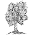 Zen Tangle flower tree with vector image