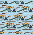 seamless pattern with cannons rifles and pistols vector image