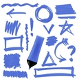 Blue Marker Set of Graphic Signs Arrows Circles vector image