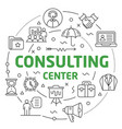 line flat circle consulting center vector image