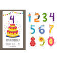 Birthday anniversary cartoon numbers and