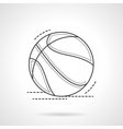 Black flat line basketball ball icon vector image