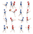 boy and girl in taekwondo outfit vector image vector image