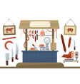 butcher shop meat assortment and equipment for vector image vector image