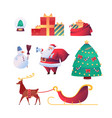 cartoon santa claus reindeer christmas set vector image vector image