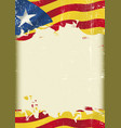 catalan estelada blava flag grunge background vector image