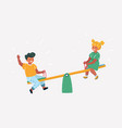children on seesaw in park vector image vector image