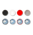 colored pin button front and back side set vector image