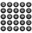 comic bubble sound icons set vetor black vector image vector image