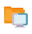 computer and folder on white background vector image
