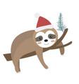 cute christmas sloth icon flat cartoon style vector image vector image