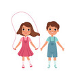 cute preschooler boy and girl characters students vector image